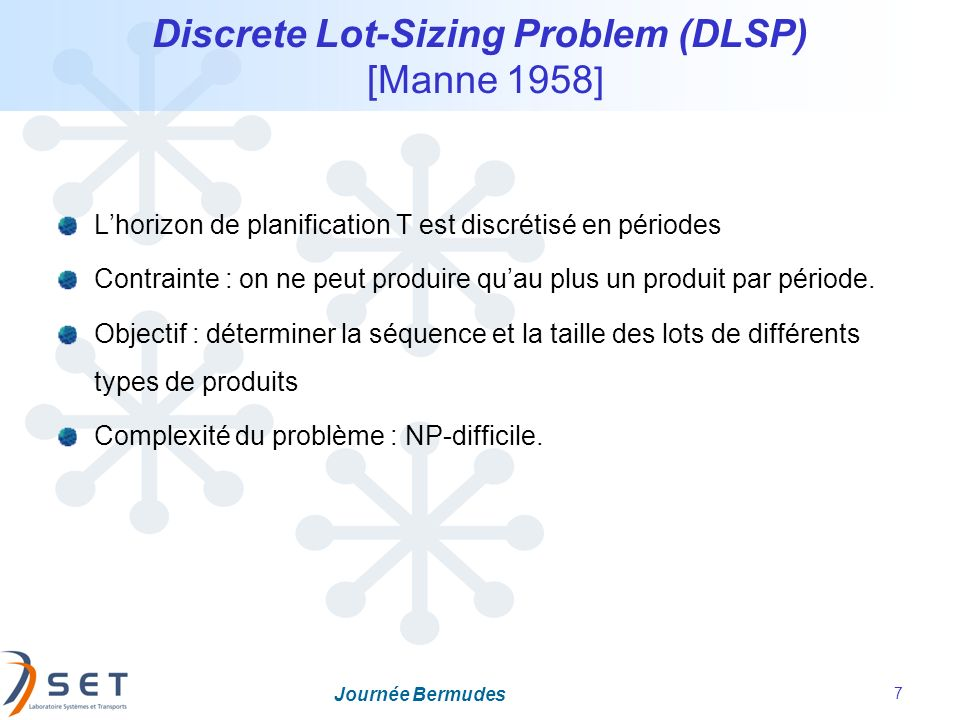 Discrete Lot-Sizing Problem (DLSP) [Manne 1958]